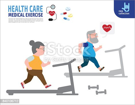 istock Full length couple senior overweight exercising on trainer machine.Health care lifestyle weight loss concept. Vector flat style cartoon character design illustration. Isolated 840106712