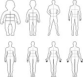 Full length front, back human outlined silhouette set