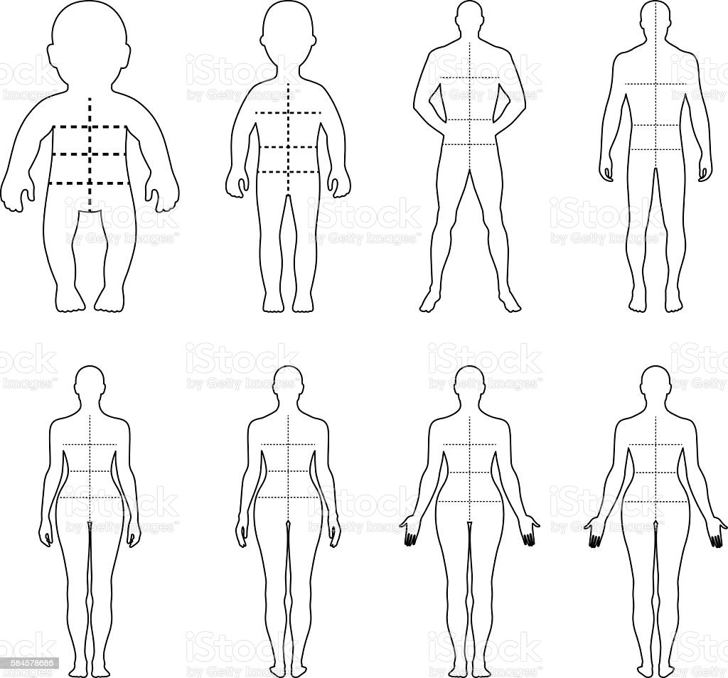 Full length front, back human outlined silhouette set - illustrazione arte vettoriale