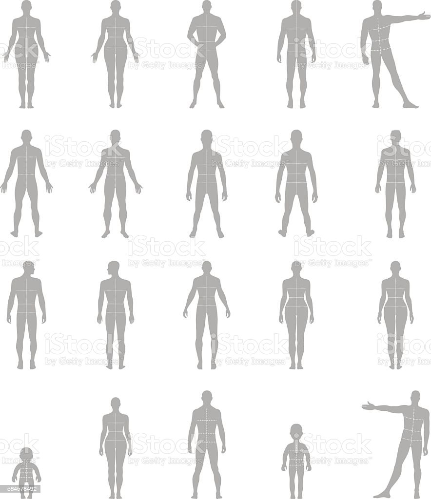 Full Length Front Back Human Silhouette Set Stock Vector Art  More Images Of Adult -4597