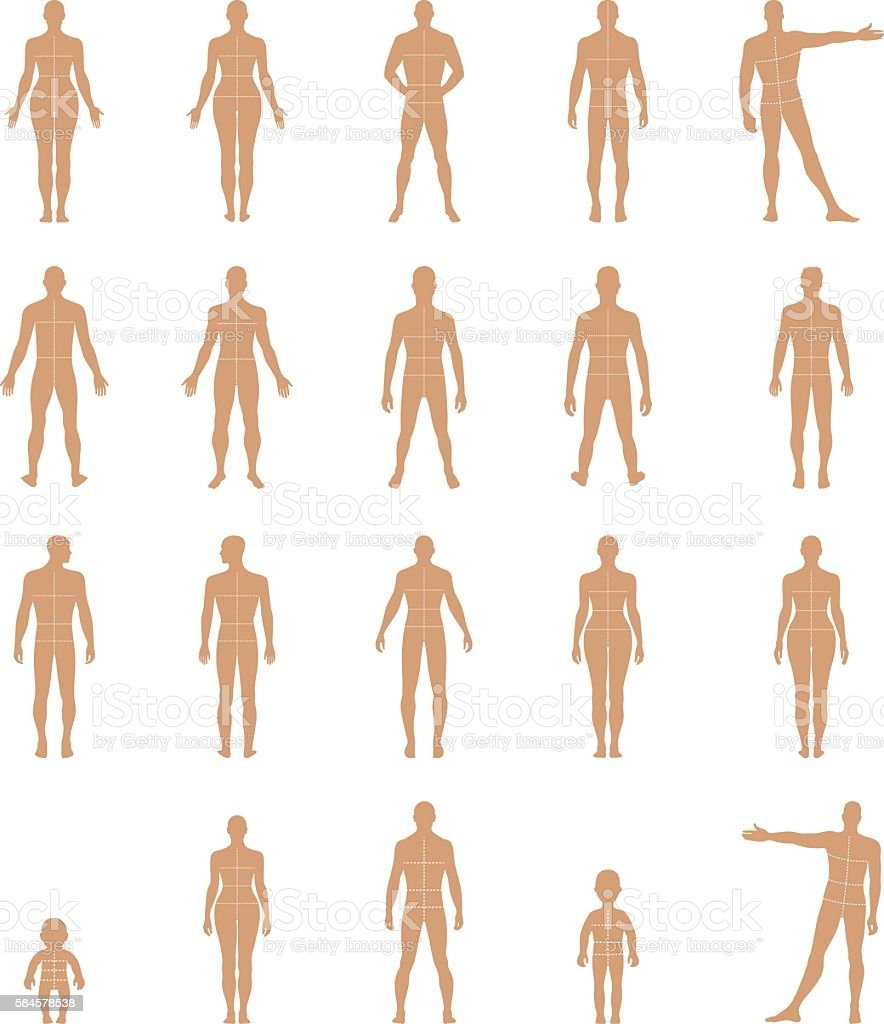Full length front, back human silhouette set with marked body's - illustrazione arte vettoriale