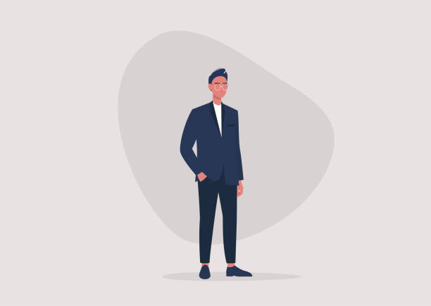 ilustrações, clipart, desenhos animados e ícones de uma ilustração completa de um jovem personagem masculino vestindo um terno de negócios formal, estilo de vida milenar, moda masculina - business man