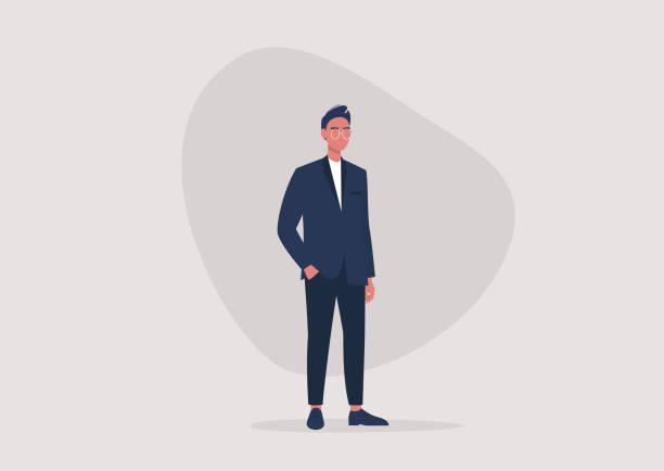 illustrazioni stock, clip art, cartoni animati e icone di tendenza di un'illustrazione a figura intera di un giovane personaggio maschile che indossa un abito da lavoro formale, uno stile di vita millenario, la moda maschile - business man