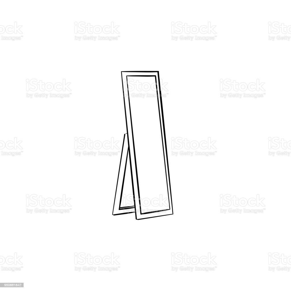 hand mirror sketch. Full Length Mirror Hand Drawn Sketch Icon Royalty-free B