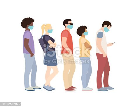 Full length of cartoon sick people in medical masks standing in line against white background.