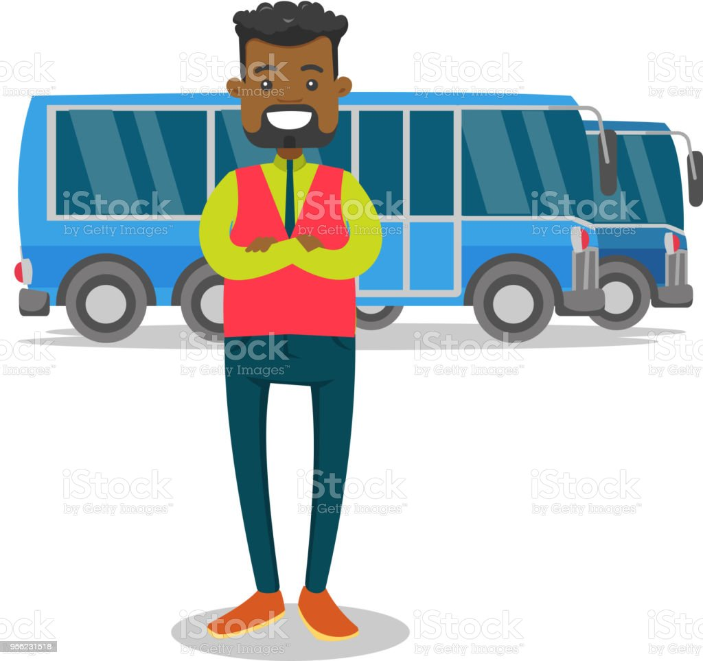 Full length of young black bus driver vector art illustration