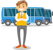 Young caucasian white bus driver in uniform standing on the background of buses. Bus driver posing against a blue tourist bus. Vector cartoon illustration isolated on white background. Square layout.