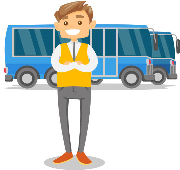 Full length of young caucasian white bus driver vector art illustration