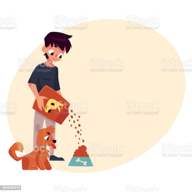Full length portrait of boy giving food to puppy dog vector id640094910?b=1&k=6&m=640094910&s=612x612&h=zeg8t3cmoliykwgwrw3mjnu6fp4 n82m diaazkkghk=