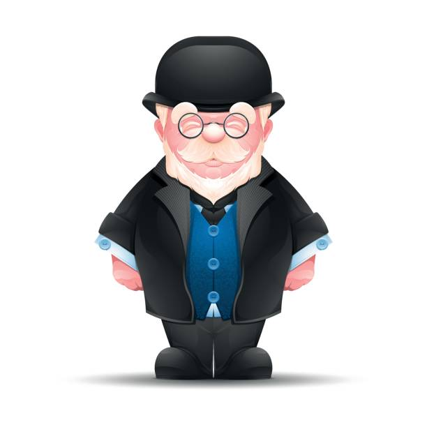 full length portrait of senior man dressed in formal suit - old man hat stock illustrations, clip art, cartoons, & icons