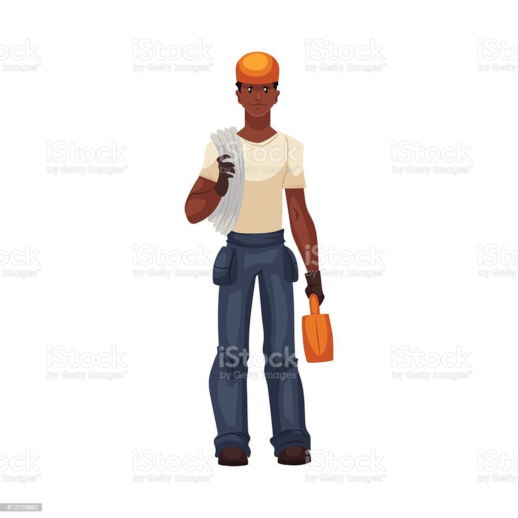Full length young and handsome african worker with a toolbox vector art illustration