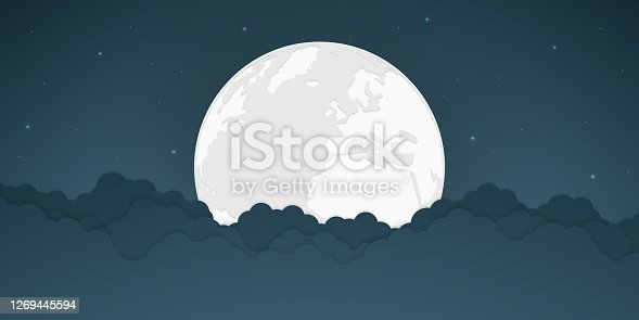 istock Full moon and bright stars with cloud, vector illustration. 1269445594