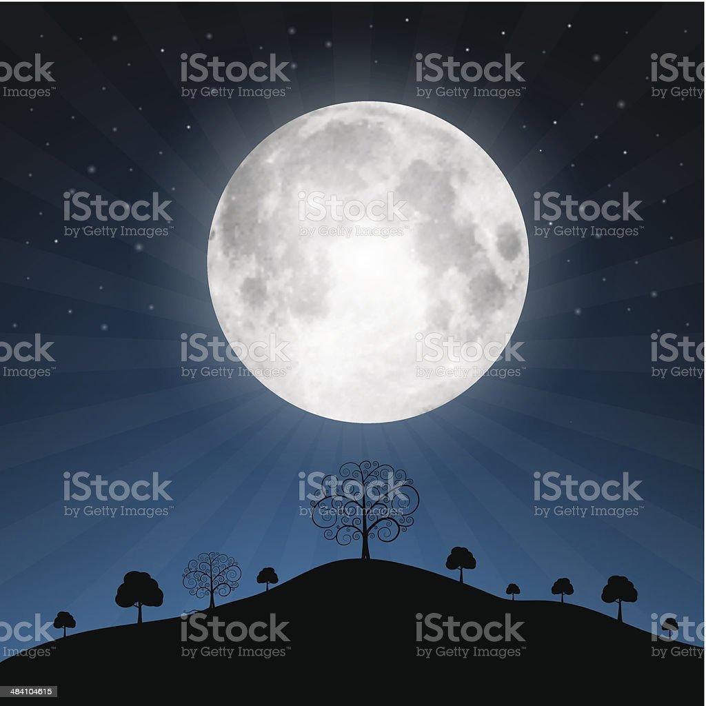 Full Moon and Night Landscape Illustration vector art illustration