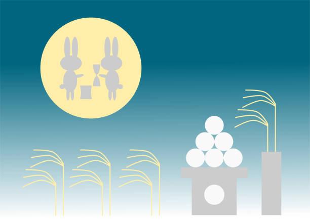 illustrazioni stock, clip art, cartoni animati e icone di tendenza di full moon and rabbit(moon watching festival) - miscanthus sinensis