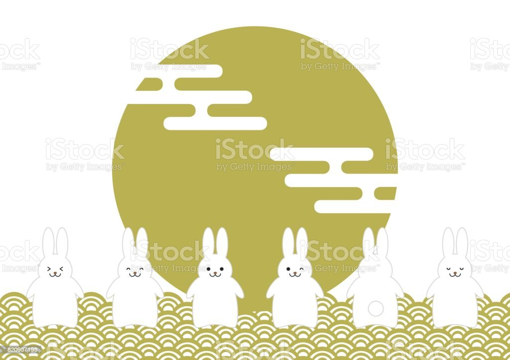 Full moon and rabbit vector art illustration