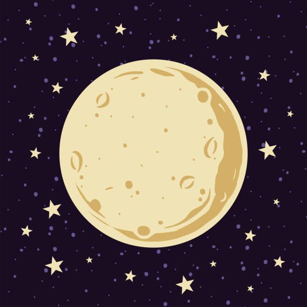 滿月和星星在夜間天空向量插圖在卡通風格 - 月亮 幅插畫檔、美工圖案、卡通及圖標