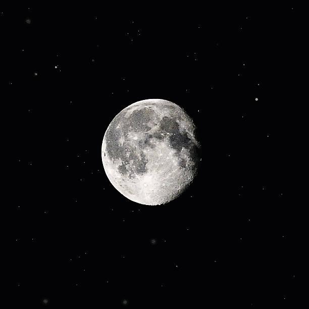Full Moon and Stars Mezzotint illustration of the Supermoon and stars moon surface stock illustrations
