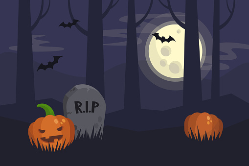 Full moon Halloween night, dark spooky graveyard and forest behind. Scary pumpkins hiding in the grass. Flat editable vector illustration, clip art