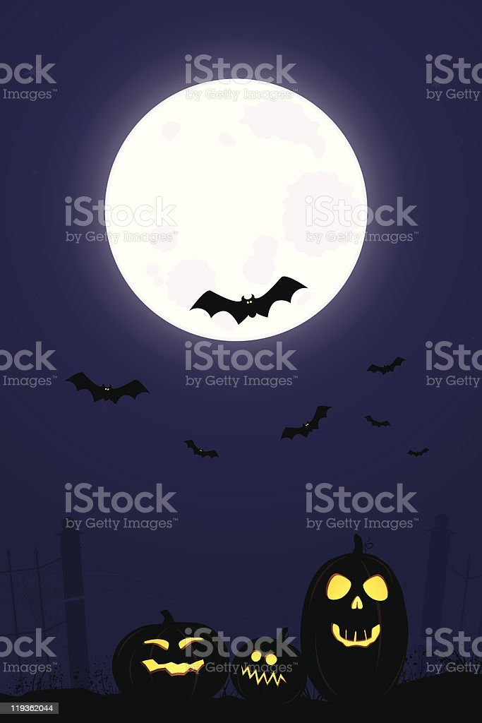 Full Moon Halloween Night with Pumpkins royalty-free stock vector art
