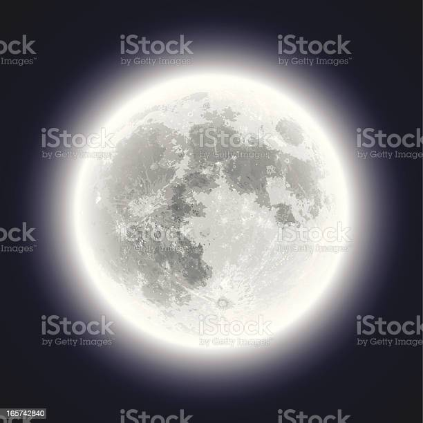 Full Moon Hand Traced Very Detailed Stock Illustration - Download Image Now