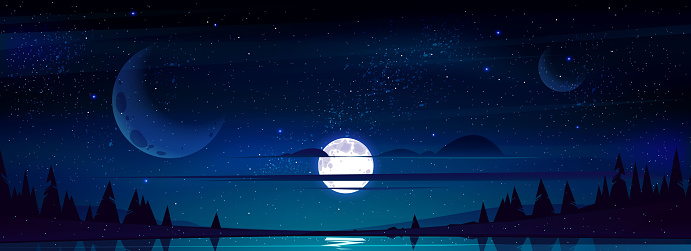 Full moon in night sky with stars above pond.