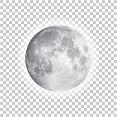 istock Full moon isolated with background, vector 1182664132