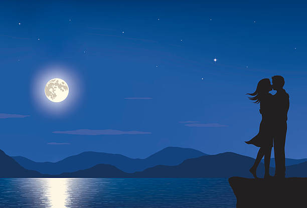 Full Moon Lovers Silhouette of a man and woman kissing in a landscape with full moon and sea at night. anniversary silhouettes stock illustrations