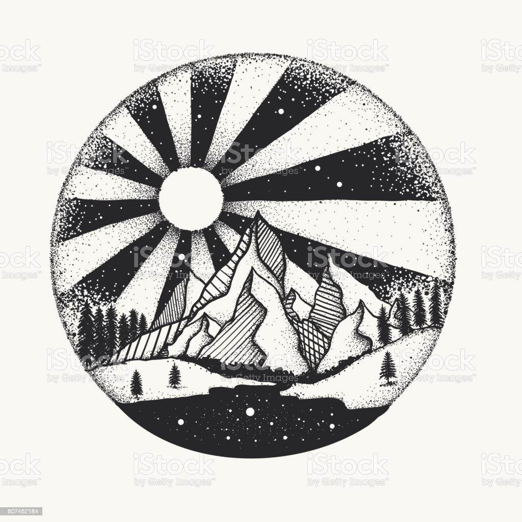Full moon nigh above mountain dot work vector art illustration