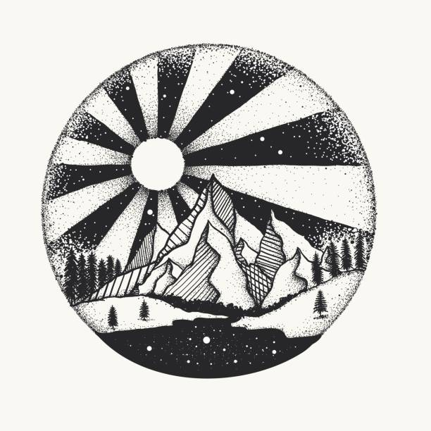 full moon nigh above mountain dot work - moon tattoos stock illustrations, clip art, cartoons, & icons