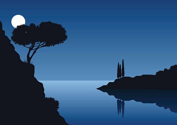illustrazioni stock, clip art, cartoni animati e icone di tendenza di luna piena notte con paesaggio costiero - sardegna