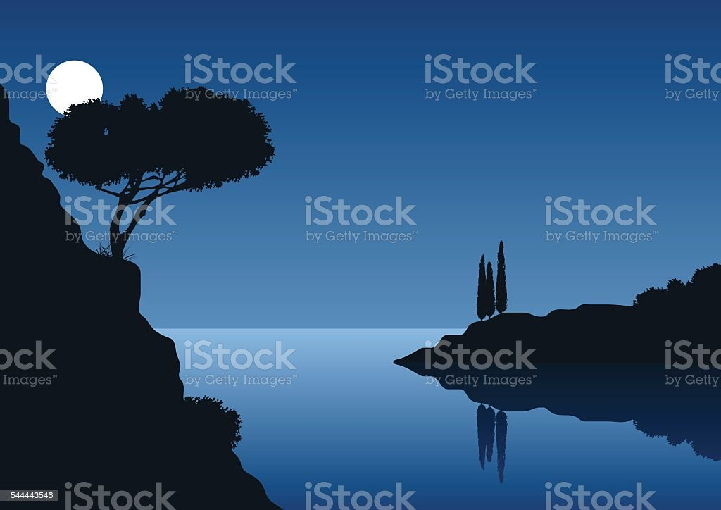 full moon night with coastal landscape vector art illustration