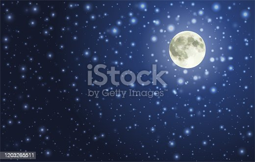 Full Moon on the Night Sky With Bright Stars