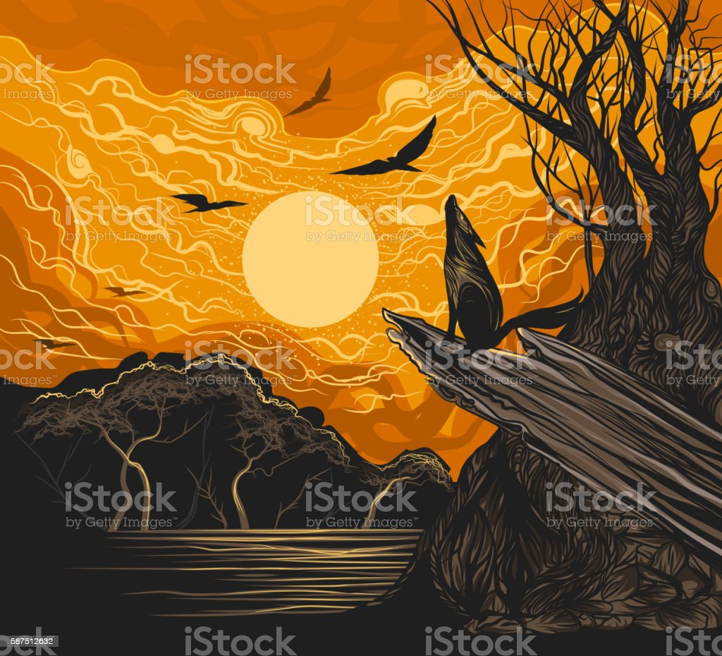Full moon scene vector art illustration