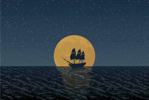 Full Moon Ship An illustration of a rising full moon on the sea, an old, pirate-style sailing ship silhouetted in the moon. pirate ship stock illustrations