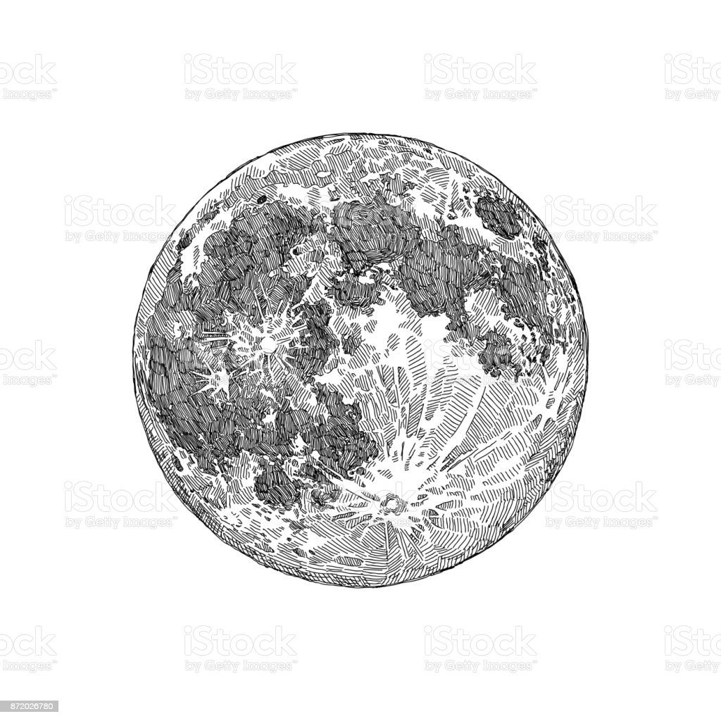Full Moon Sketch vector art illustration
