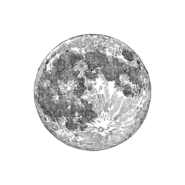 full moon sketch - moon stock illustrations, clip art, cartoons, & icons