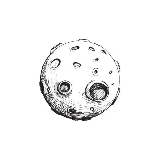 ilustraciones, imágenes clip art, dibujos animados e iconos de stock de luna llena con cráteres. vector ilustración mano dibujar. concepto de arte. diseño de tatuaje. aislado con blanco. - tatuajes de luna
