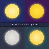 Full moon with glowing edges on dark sky with stars.  Kit of cliparts of various colours: yellow, blue, grey, orange with appropriate background.Vector illustration.