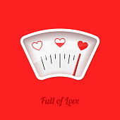 Full of Love meter, Valentine's Day card design element