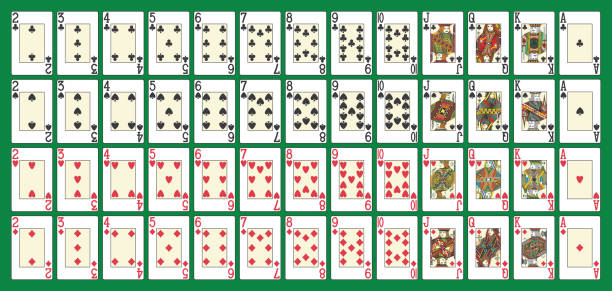 vollen poker deck - holzdeck stock-grafiken, -clipart, -cartoons und -symbole