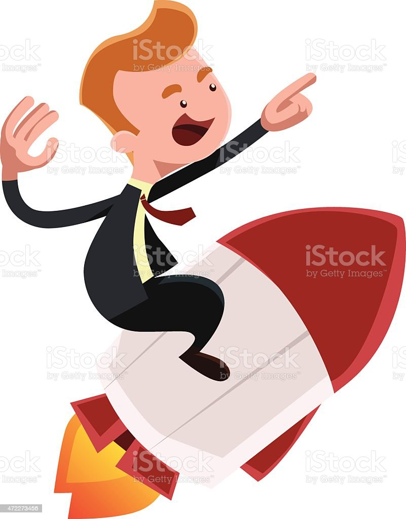 Full power forward businessman on rocket vector illustration cartoon character vector art illustration