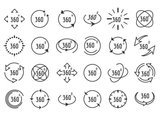 ilustraciones, imágenes clip art, dibujos animados e iconos de stock de iconos de línea de rotación completa - 360