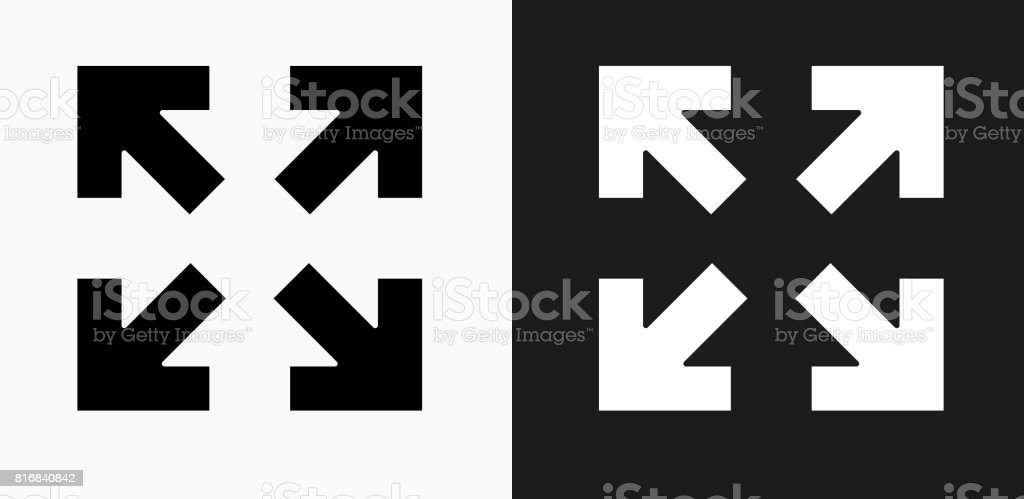 Full Screen Arrows Icon on Black and White Vector Backgrounds vector art illustration