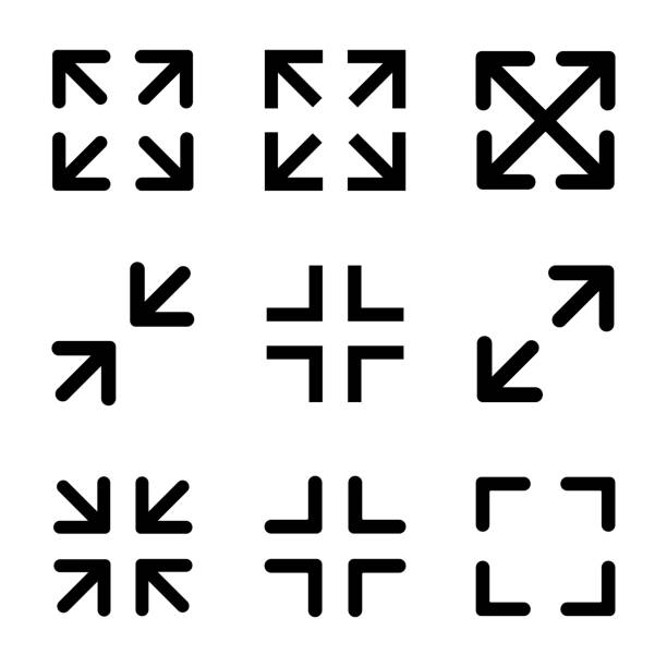 vollbild-symbole gesetzt. vektor - breit stock-grafiken, -clipart, -cartoons und -symbole
