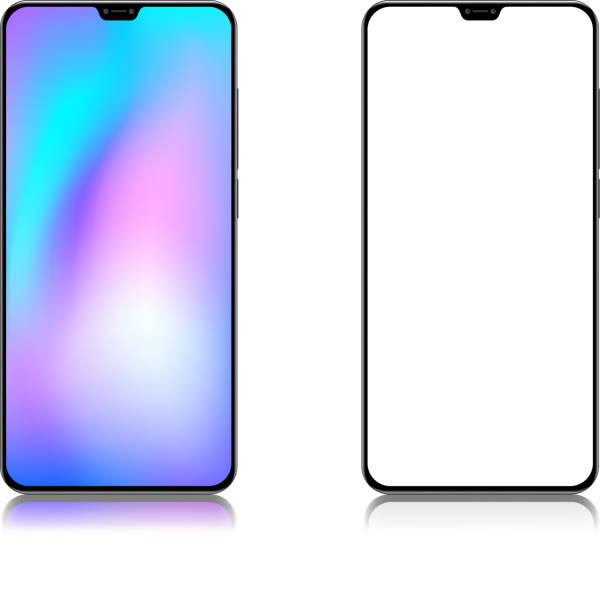 Full screen mobile phone High resolution jpeg included. Vector files can be re-edit and used in any size iphone stock illustrations