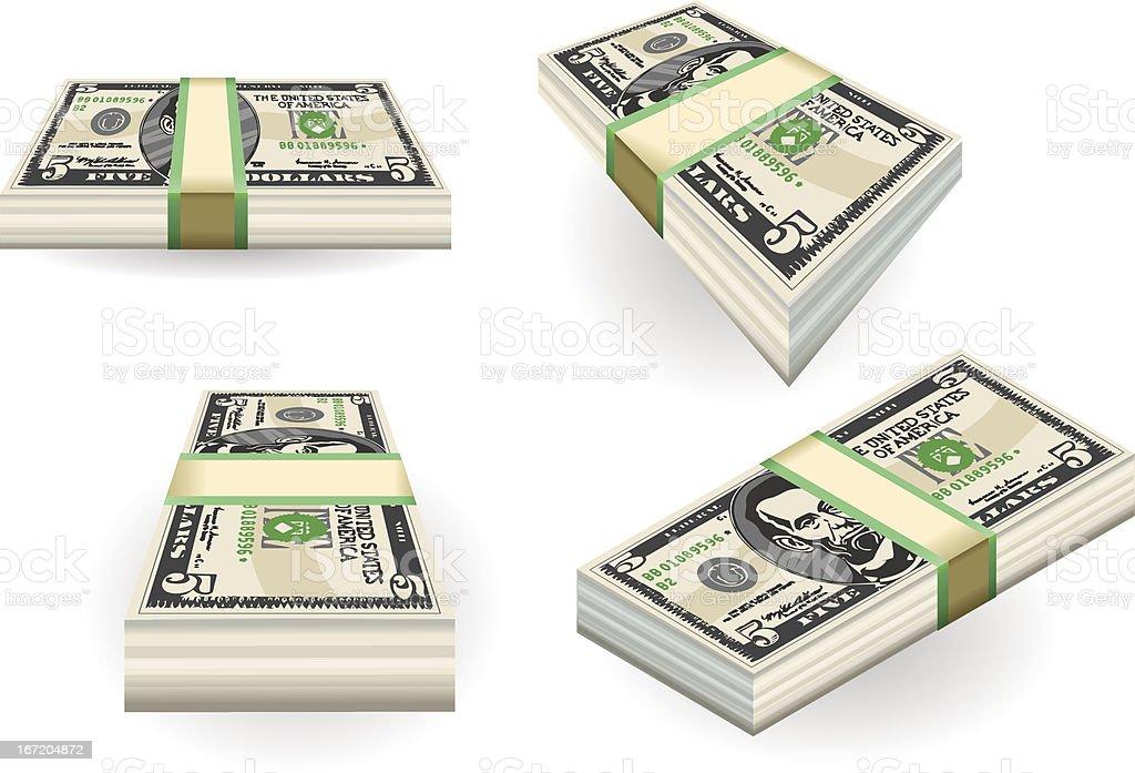 full set of five dollar banknotes royalty-free stock vector art