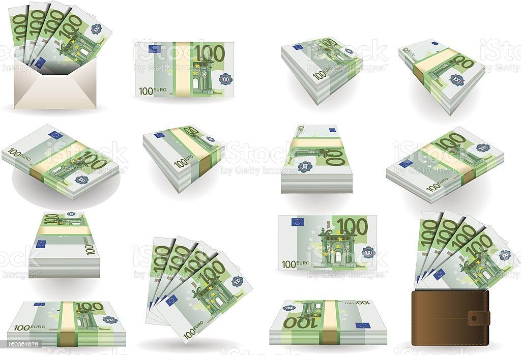 full set of hundred euros banknotes vector art illustration