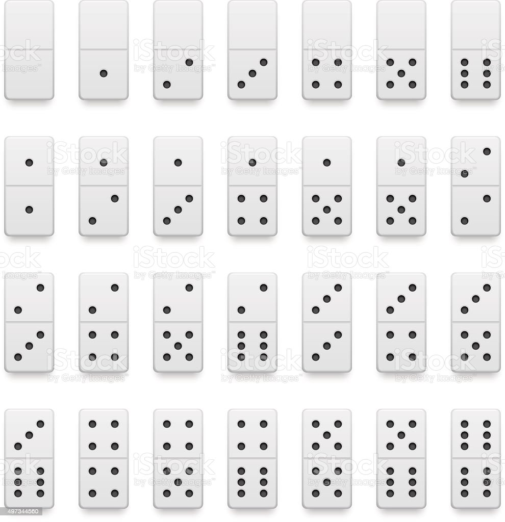 Full set of realistic white domino pieces. vector art illustration
