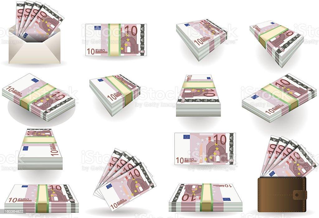 full set of ten euros banknotes vector art illustration