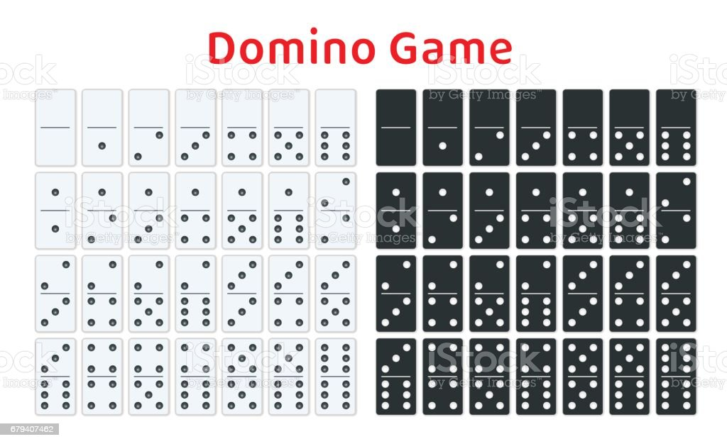 Full set of white and black dominoes isolated on white. Complete double-six set. Flat illustration.